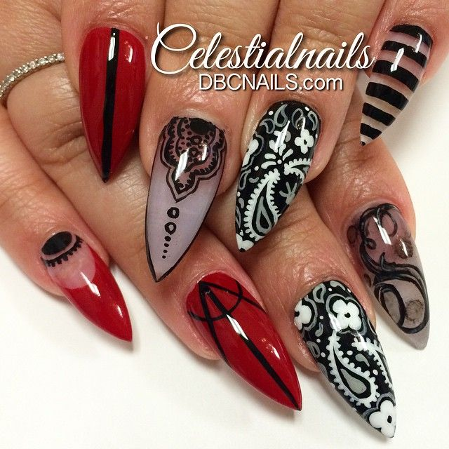 Beautiful Stiletto Nail Art Design Idea