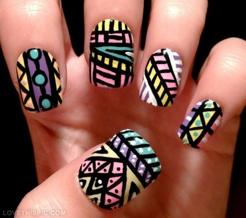 - Beautiful Tribal Design Nail Art