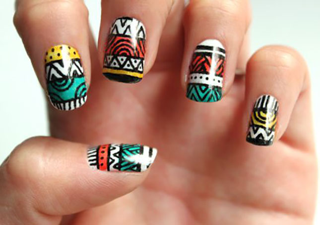 Beautiful Tribal Nail Art Design Idea