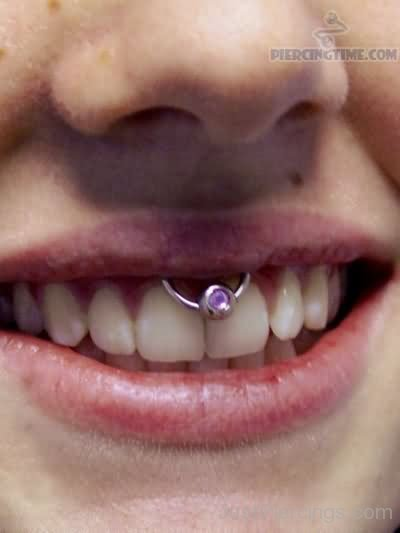 Frenulum Piercing With Curved Barbell