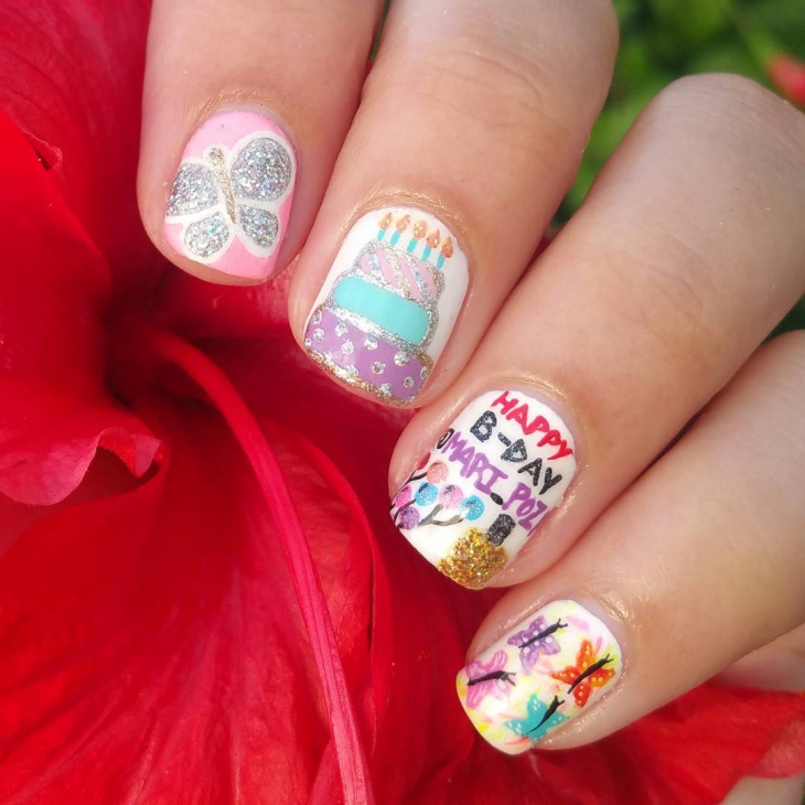 Birthday Cake Nails: 40 Most Beautiful Birthday Nail Art Design Ideas