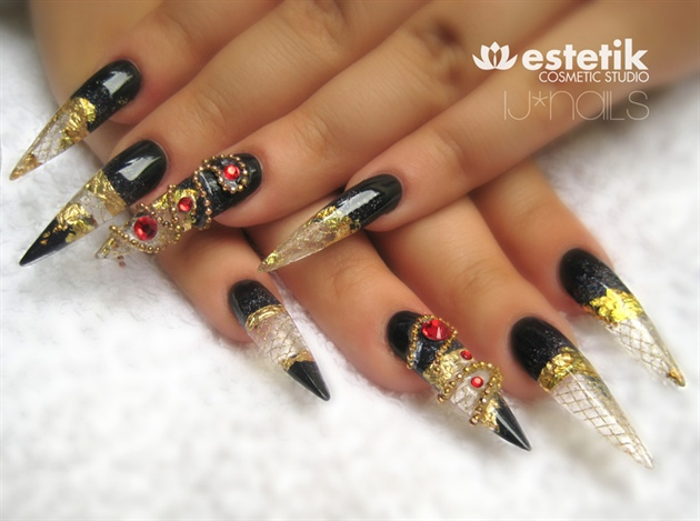Black And Gold Studded Stiletto Nail Art