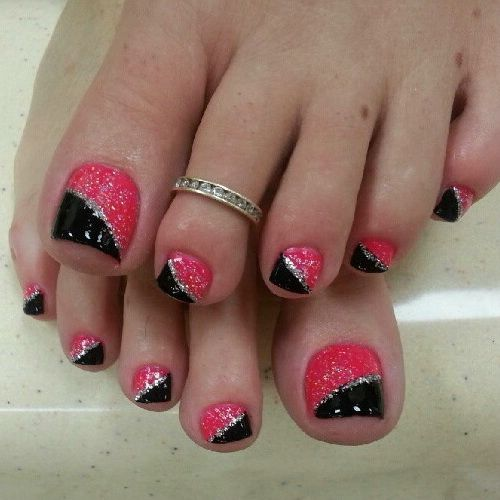 Black and pink glitter toe nail art design prinsesfo Choice Image