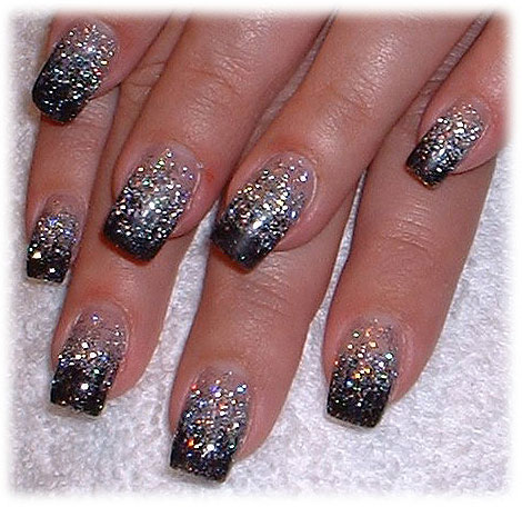 - Black And Silver Glitter Nail Art