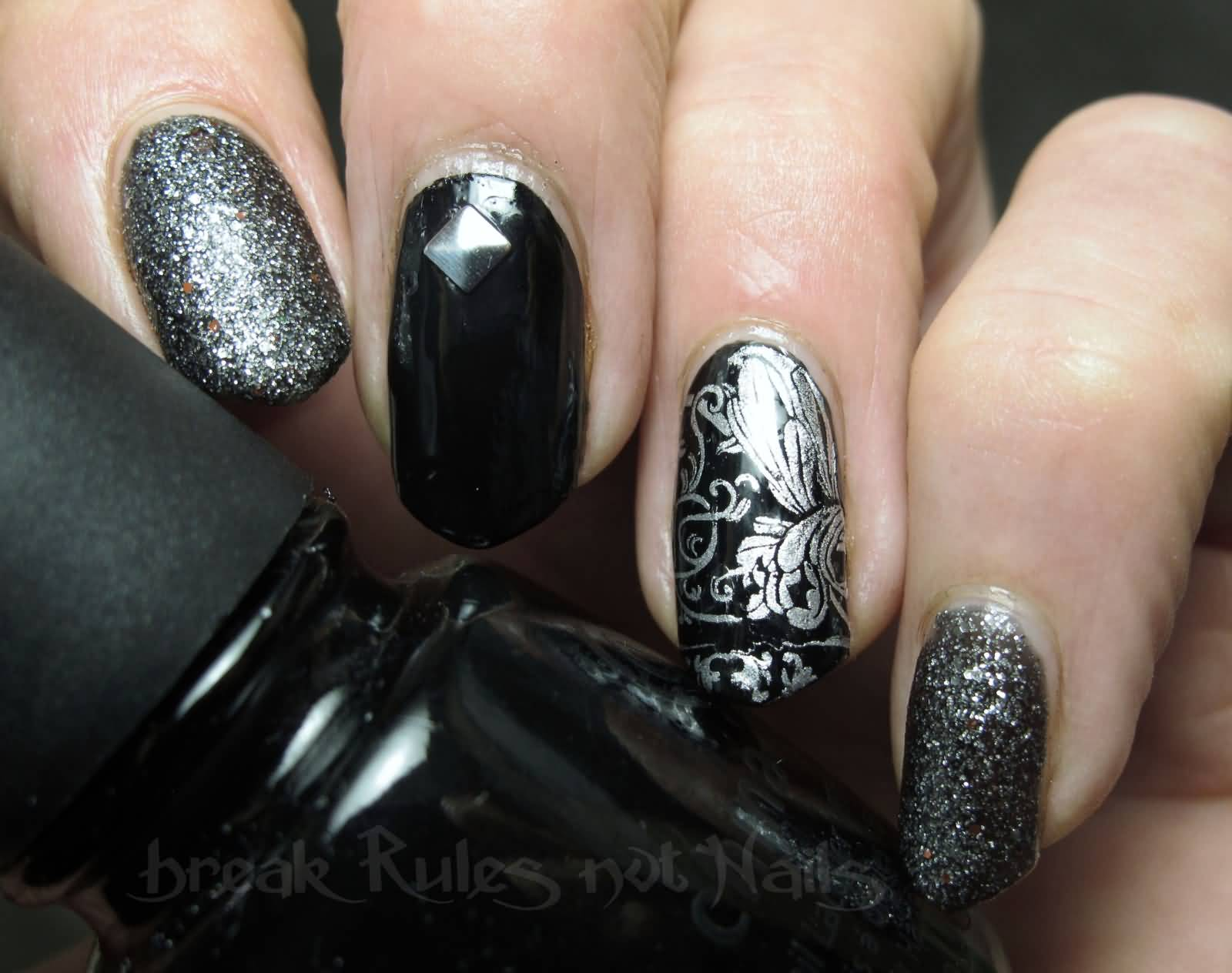 Black Tip And Silver Glitter Nail Design Idea