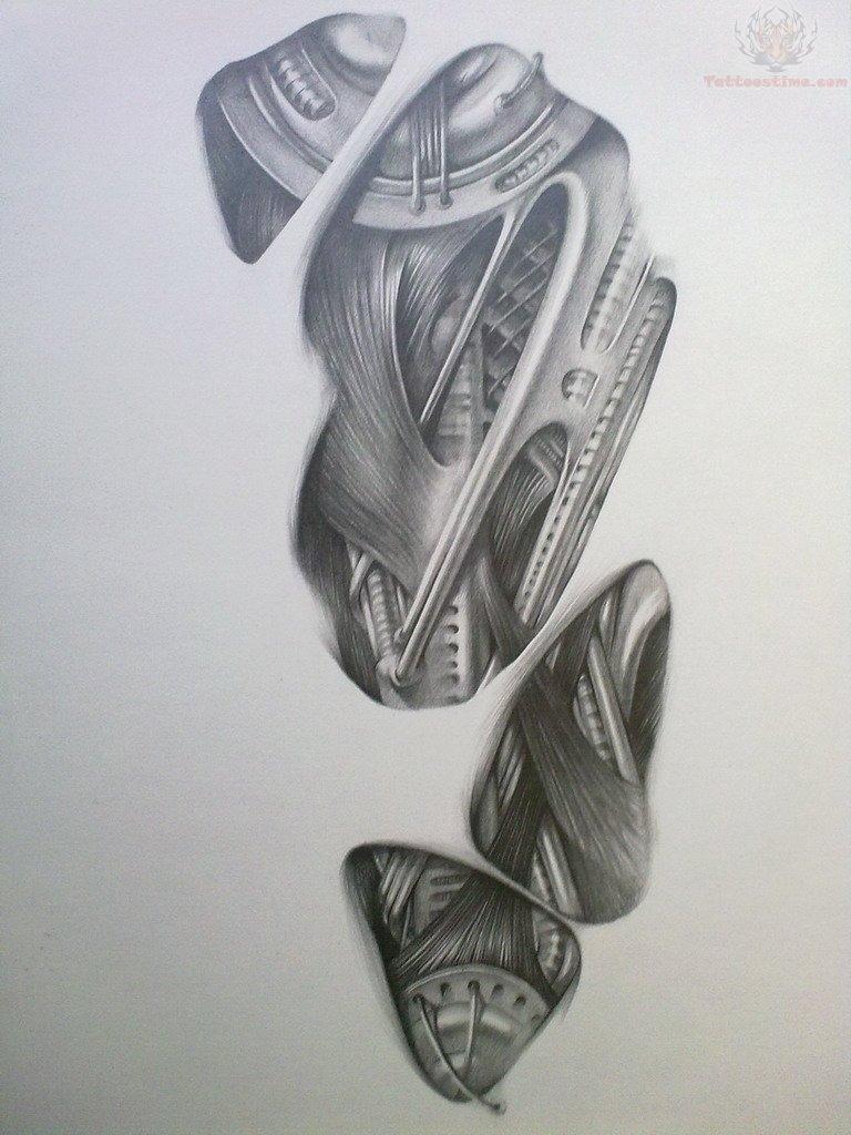 3d tattoo designs - Black And White 3d Tattoo Design