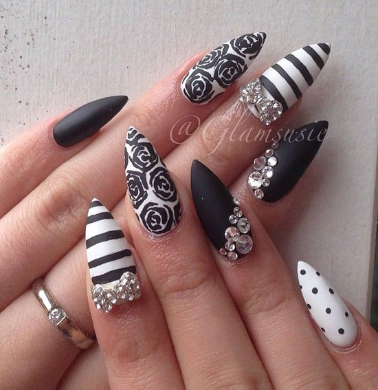 Stiletto Nail Art With Diamonds: 60+ Most Beautiful Stiletto Nail Art Designs Ideas For