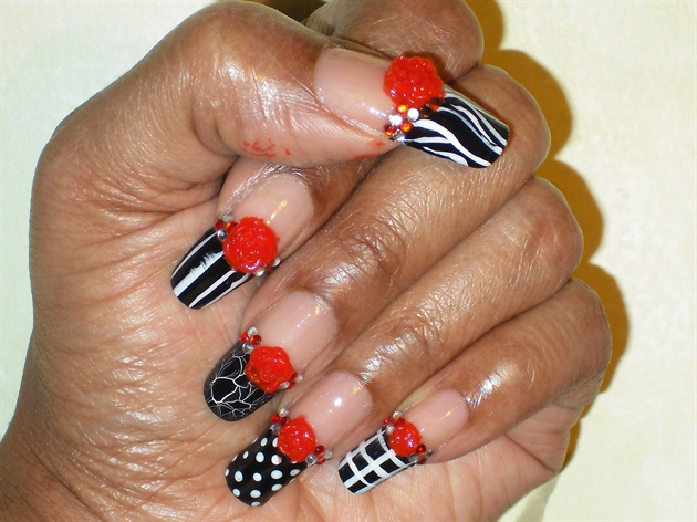 35 best 3d rose flowers nail art design ideas black and white tip nails with 3d red rose nail art prinsesfo Choice Image