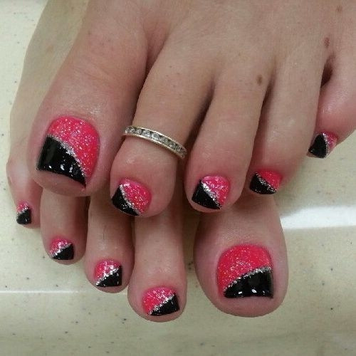 26 Red And Silver Glitter Nail Art Designs Ideas: 50+ Best Toe Glitter Nail Art Design Ideas