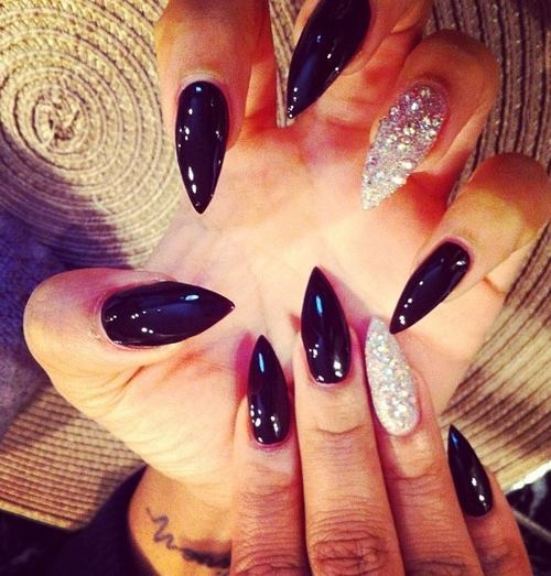 60 most beautiful stiletto nail art designs ideas for teen girls black glossy and silver glitter stiletto nail art prinsesfo Choice Image