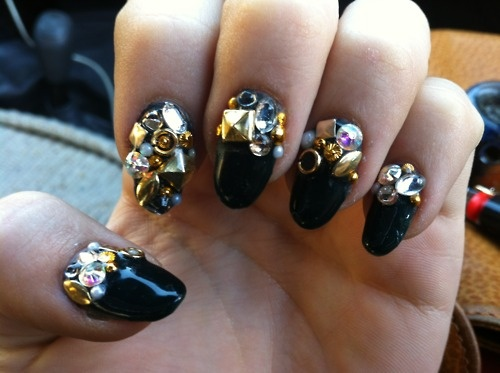Black Glossy Nails With 3d Caviar Beads Design Nail Art
