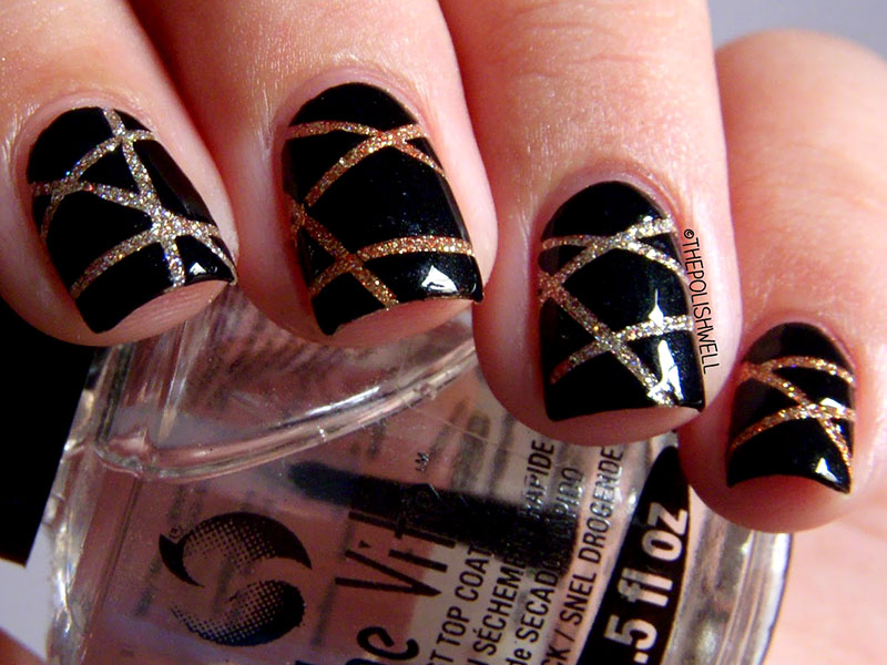 Black Glossy Nails With Glitter Stripes Design Nail Art
