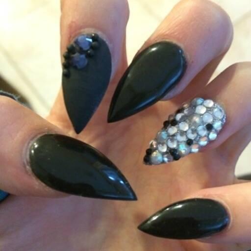 Black Glossy Stiletto Nail Art With Rhinestones Accent Design