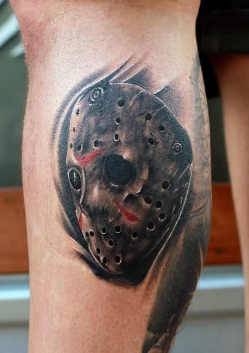 realistic grey ink jason with axe tattoo. Black Bedroom Furniture Sets. Home Design Ideas