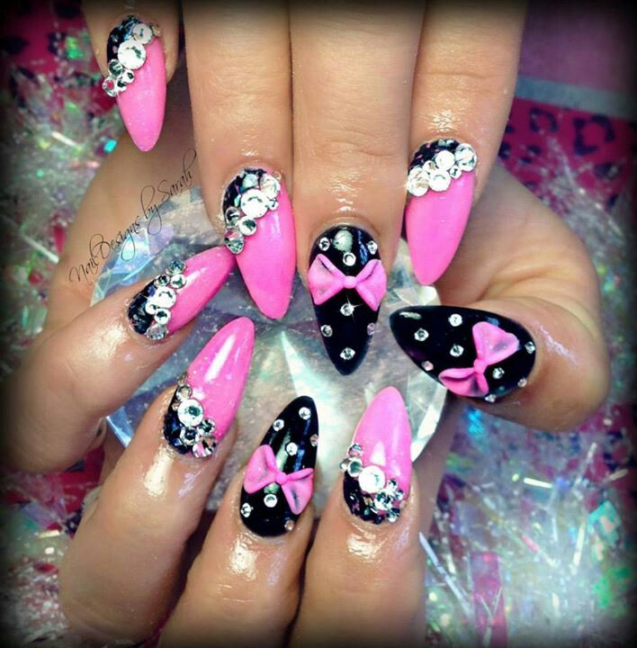 60 most stylish 3d nail art ideas for trendy girls black nails with pink 3d bow design nail art prinsesfo Choice Image