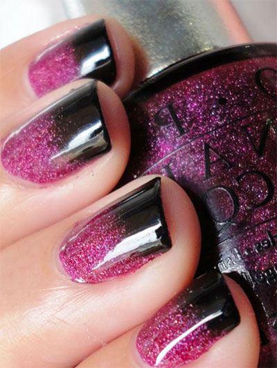 Black Tip And Pink Glitter Gel Nail Art Design Idea