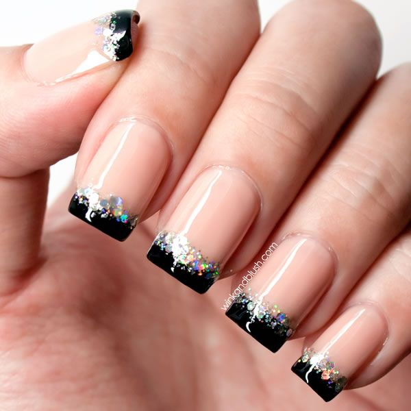 Black Tip And Silver Glitter Nail Art