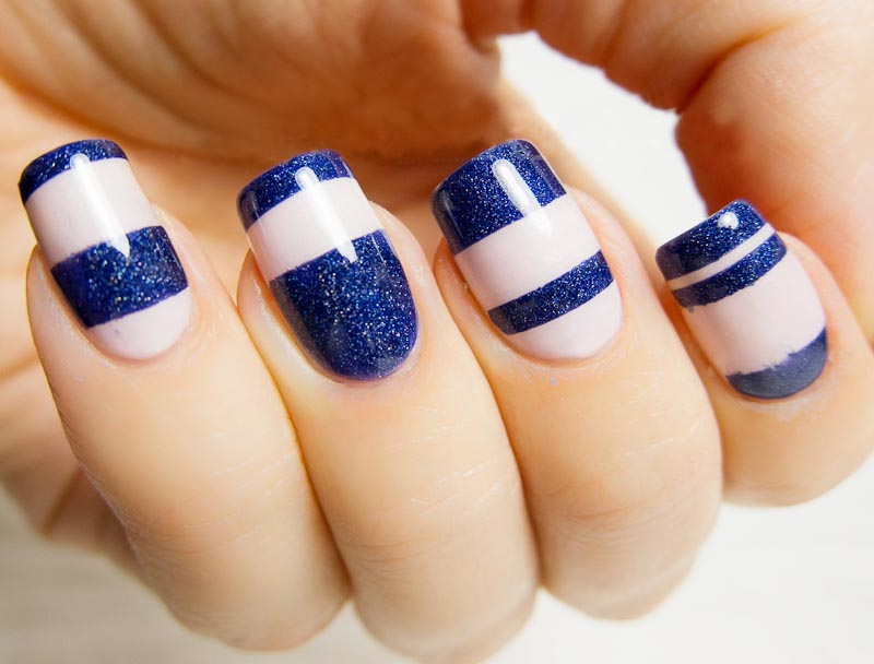 Blue And Beige Nail Art Design Idea