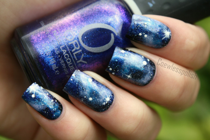Blue and black galaxy nail art with white stars design prinsesfo Choice Image