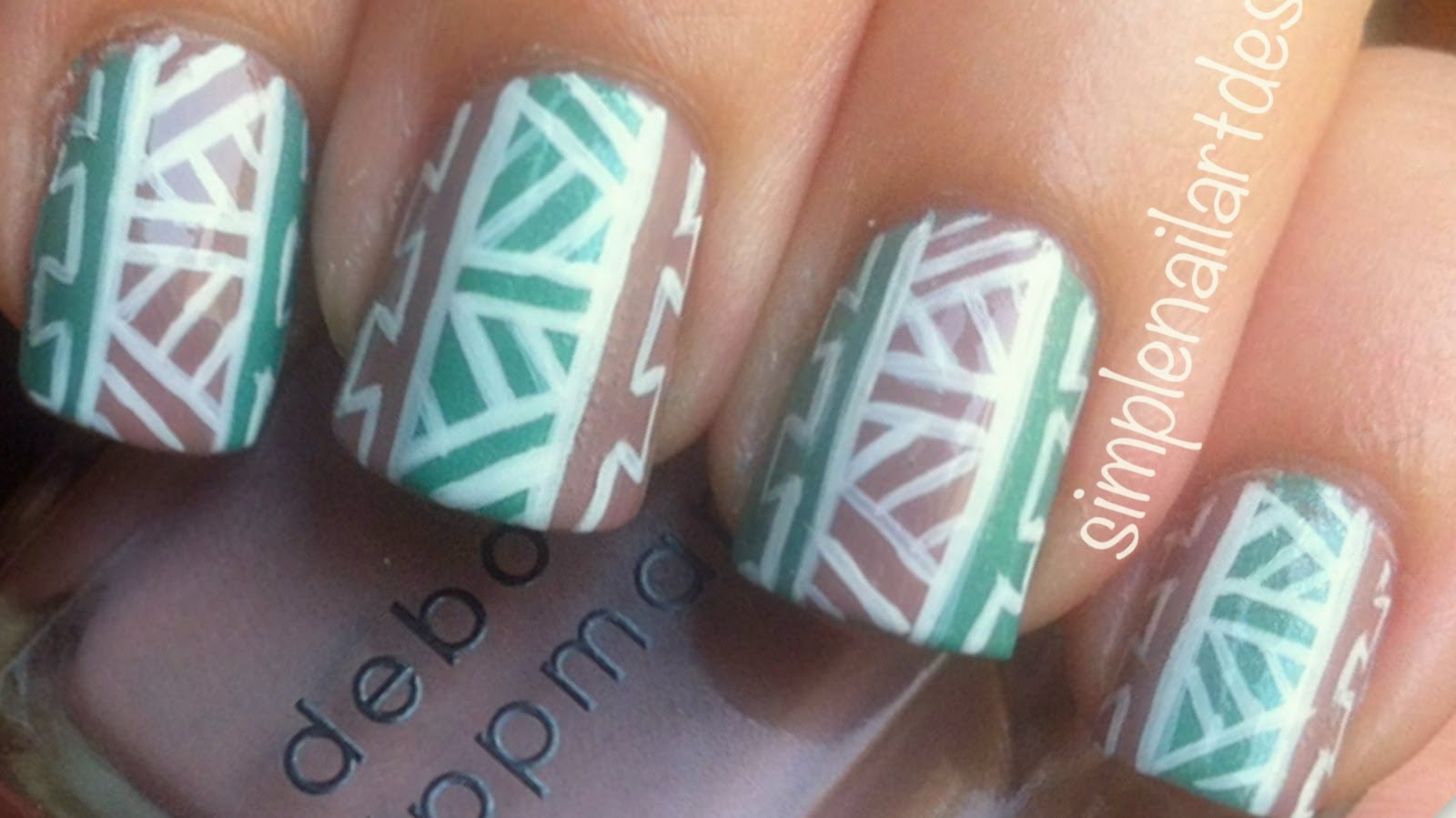 094afa783 Blue And Brown Tribal Nail Art Design Idea