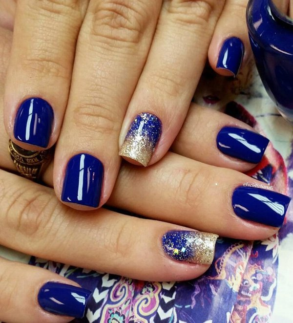 Blue And Gold Glitter Ombre Nail Art