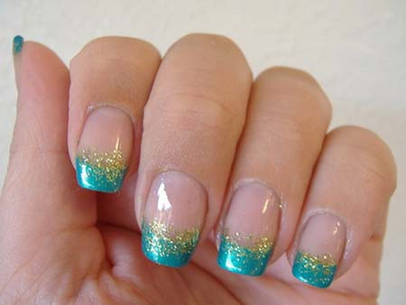 55 best glitter nail art design ideas blue and gold tip glitter nail art prinsesfo Image collections