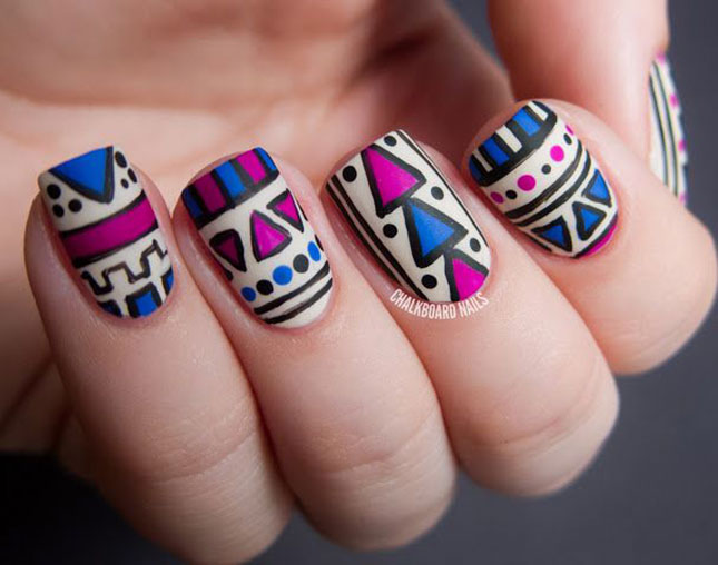 Blue And Pink Matte Tribal Nail Art