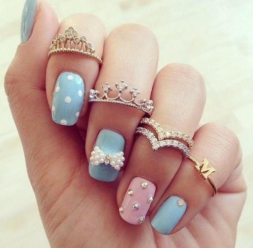 Blue And Pink Nails With White 3D Bow Design