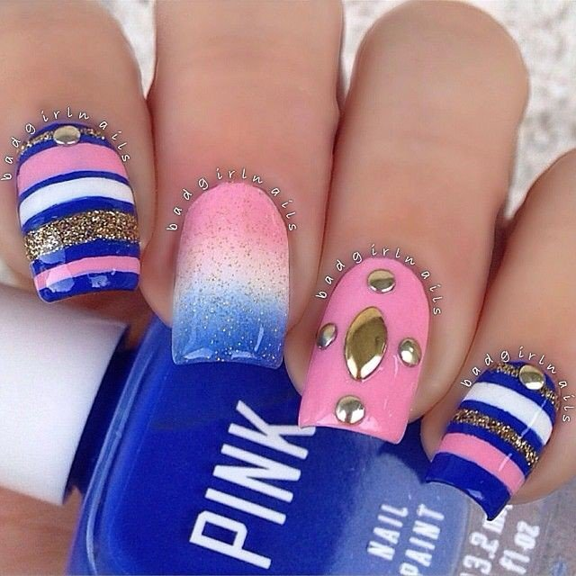 Blue And Pink Studded Nail Art