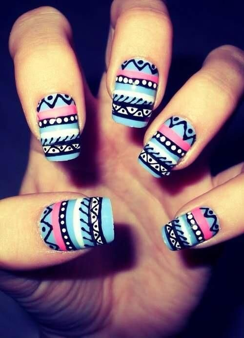 Blue And Pink Tribal Nail Art Design
