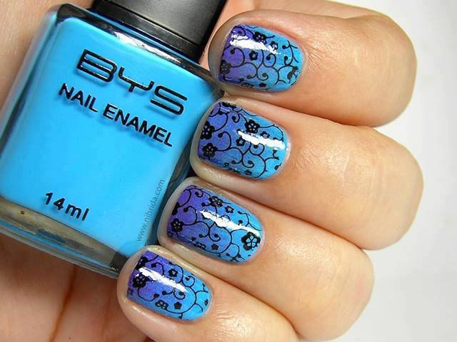 Blue And Purple Ombre Nails With Black Flower Spiral Design