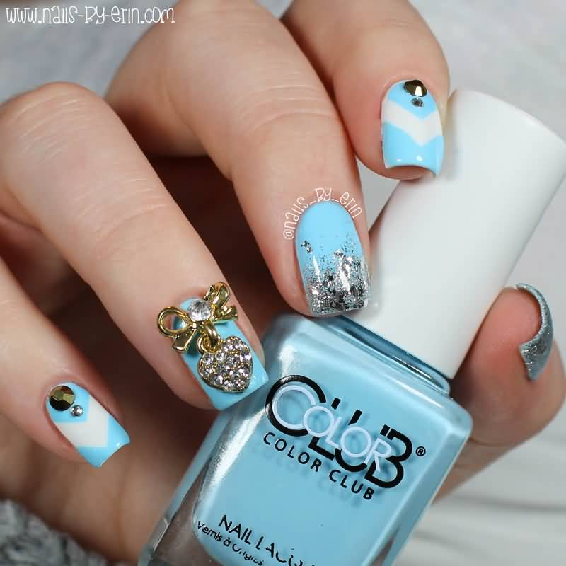 82 best blue and silver nail art design ideas blue and silver bling nail art design idea prinsesfo Images