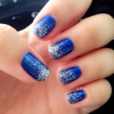 Blue And Silver Glitter Grant Nail Art By Justine