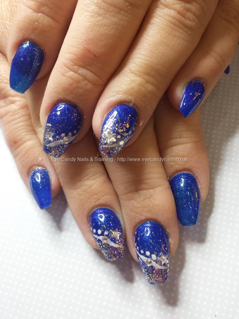 Blue And Silver Glitter Nail Art With White Dots Design