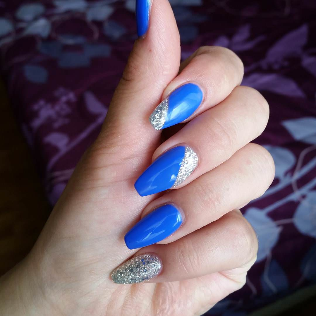 Blue And Silver Glitter Nail Art