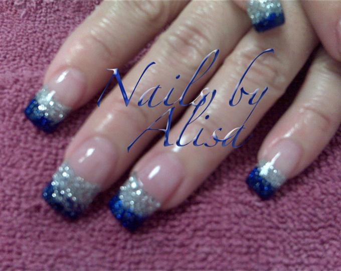 82 best blue and silver nail art design ideas blue and silver glitter tip nail art prinsesfo Images