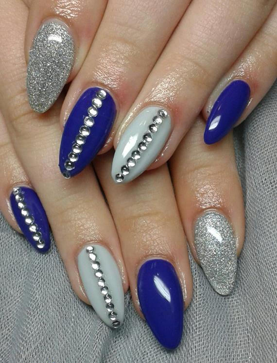 82 best blue and silver nail art design ideas blue and silver nails with rhinestones design idea prinsesfo Choice Image