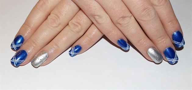Blue And Silver Nails With White Stripes Design Nail Art