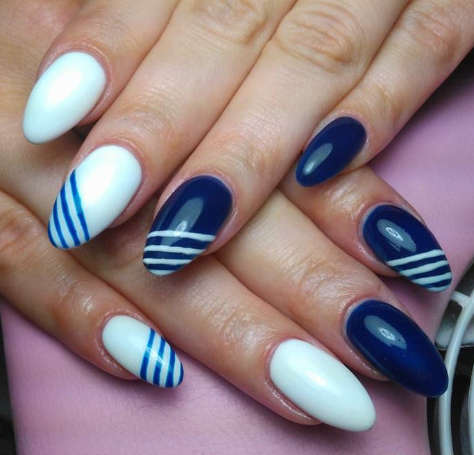 Blue And White Stripes Design Nail Art