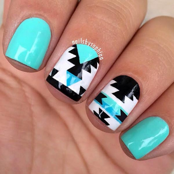 Blue Black And White Classy Nail Art