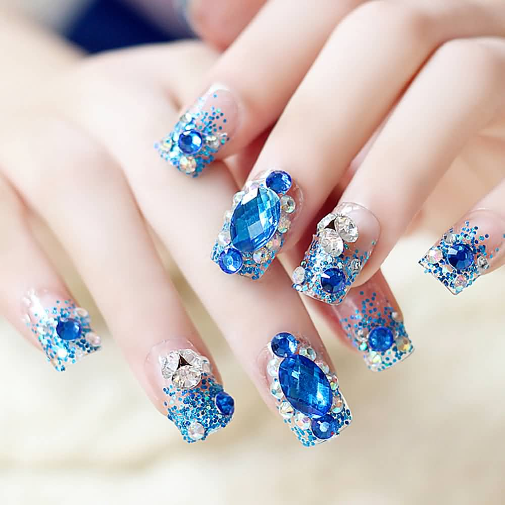 Diamonds Nail Art Design Ideas: 70+ Most Beautiful 3D Nail Art Design Ideas For Trendy Girls