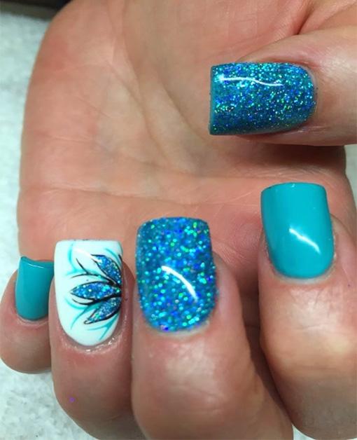 Nail Art Blue Glitter: 52+ Classic Glitter Nail Art Design Ideas For Trendy Girls