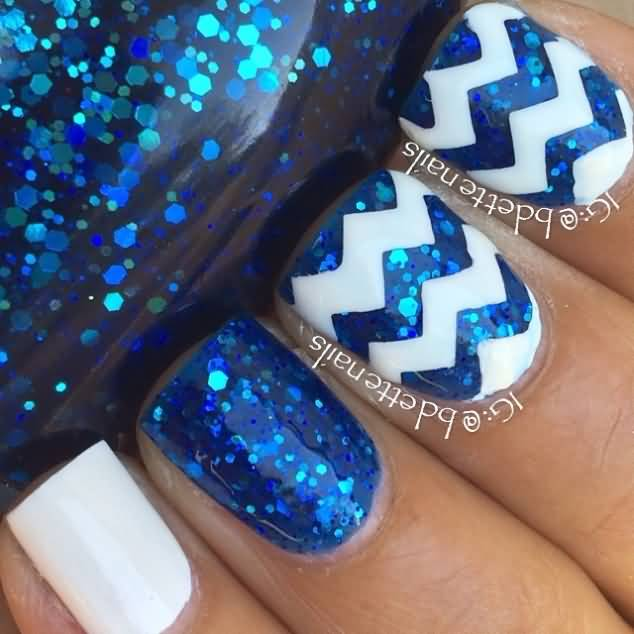 Blue Glitter Gel Chevron Design Nail Art