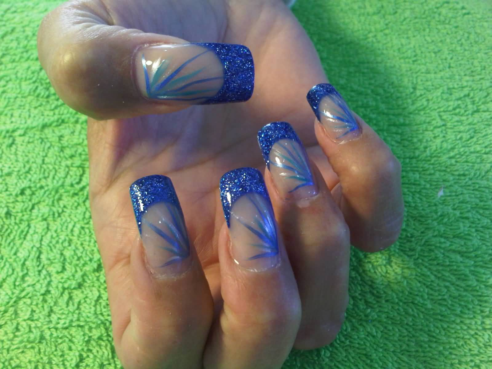 Blue Glitter Gel Tip Nail Art