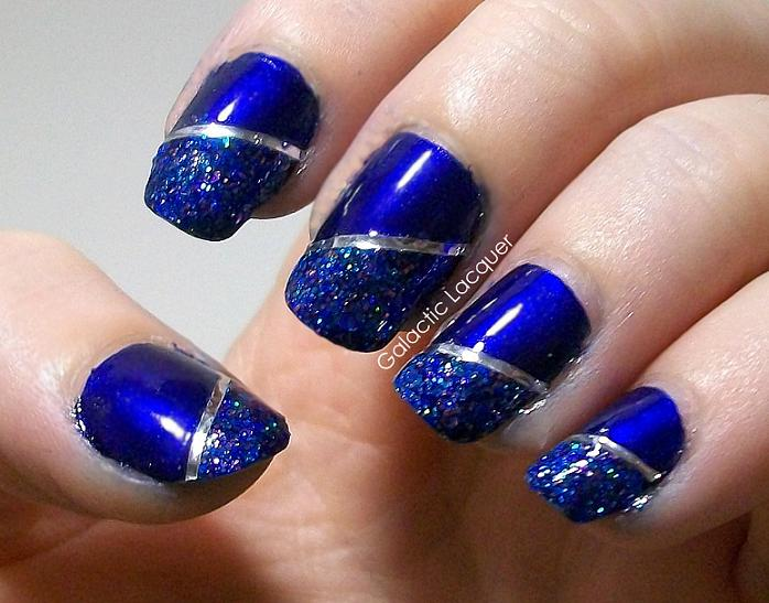 Blue Glitter Nails With Silver Stripes Design Nail Art