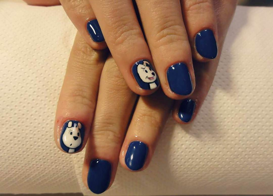 35 latest cartoon nail art designs blue glossy nails with dog cartoon nail art design prinsesfo Image collections