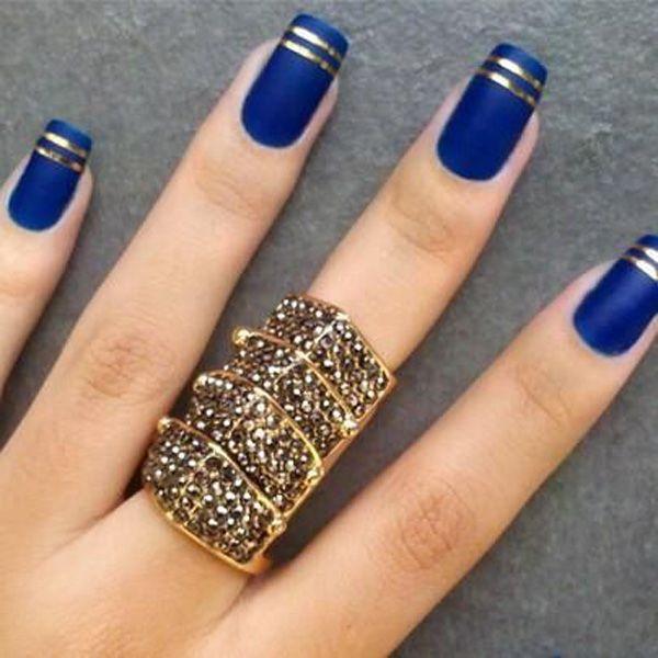 Blue Matte Nails With Golden Stripes Design Idea - 50+ Best Blue Nail Art Design Ideas