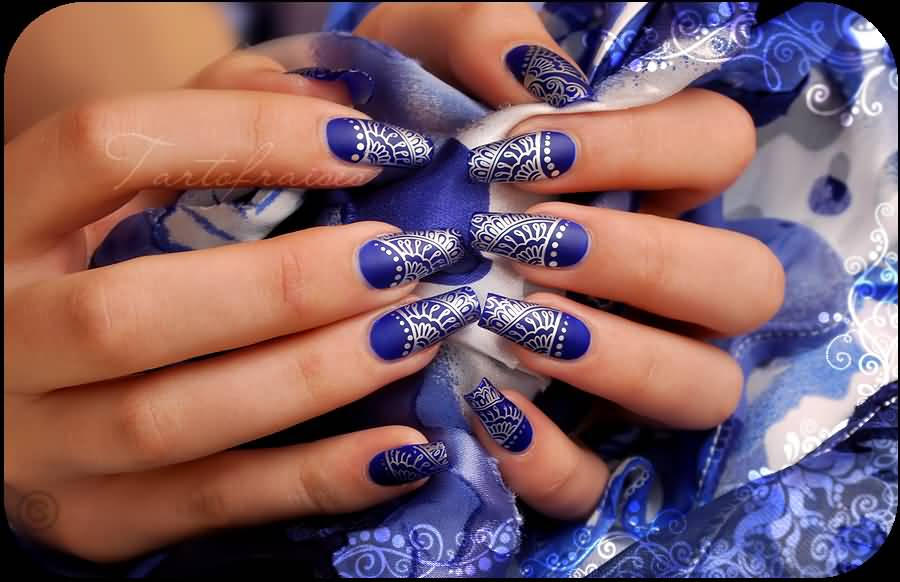 82 best blue and silver nail art design ideas blue matte nails with silver print nail art design by tartofraises prinsesfo Images