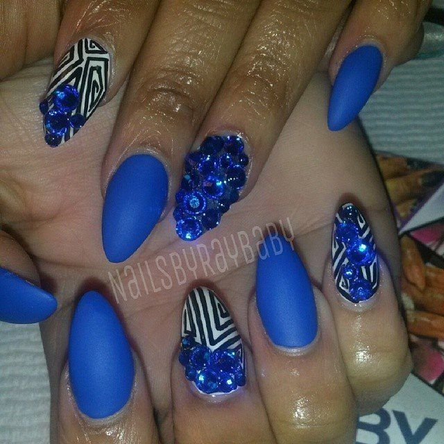 55 most stylish matte stiletto nail art designs blue matte stiletto nail art with rhinestones design prinsesfo Choice Image
