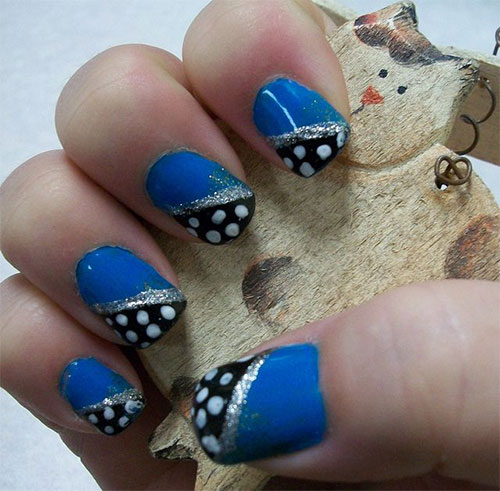 50 best blue nail art design ideas blue nails with diagonal polka dots nail art prinsesfo Image collections